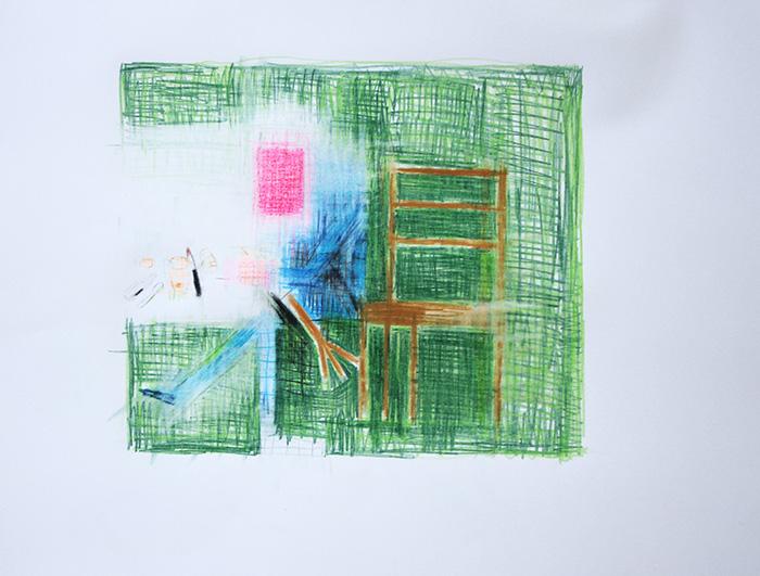 Étienne Armandon / La métamorphose III / Crayons de couleur sur papier / 50 x 65 cm / 2019