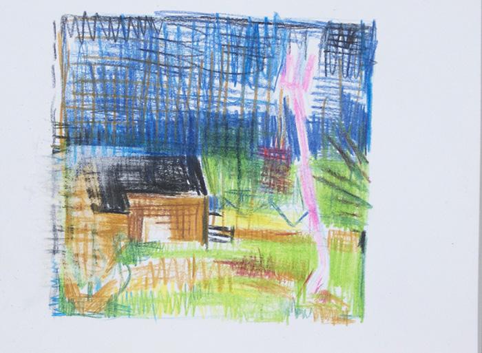 Étienne Armandon / Préparatifs de noce à la campagne / Crayons de couleur sur papier / 21 x 29,7 cm / 2020