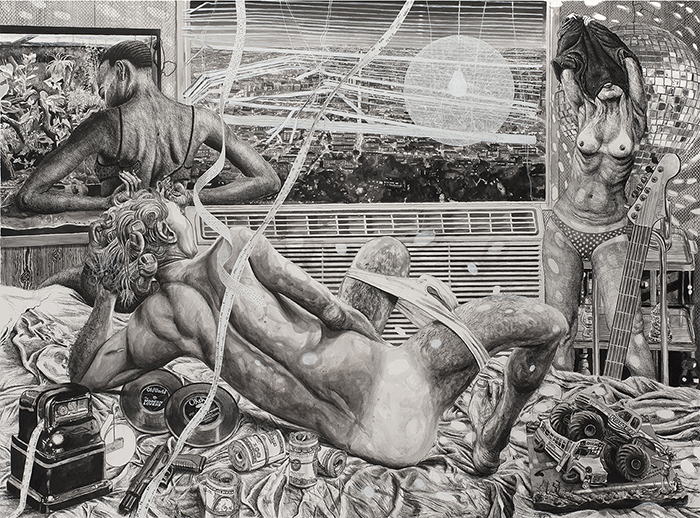 Marcos Carrasquer / Little Nero / Technique mixte sur papier - Mixed media on paper / 120 x 160 cm / 2020