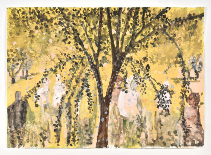 Vanessa Fanuele / Plein d'aurore / Acrylique sur papier - Acrylic on paper / 70 x 100 cm / 2020