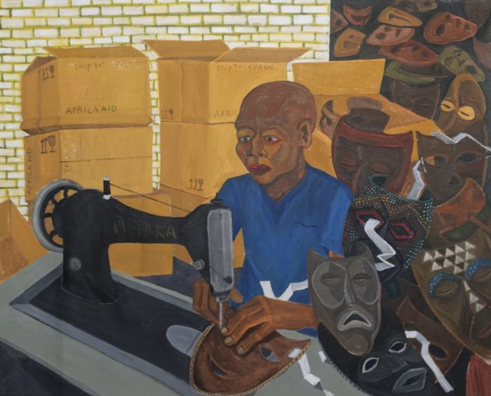 Richard Mudariki / The Face Mask Maker / Huile sur toile - Oil on canvas / 60 x 75 cm / 2020