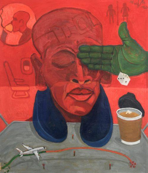Richard Mudariki / On board / Huile sur toile - Oil on canvas / 55 x 46,5 cm / 2020