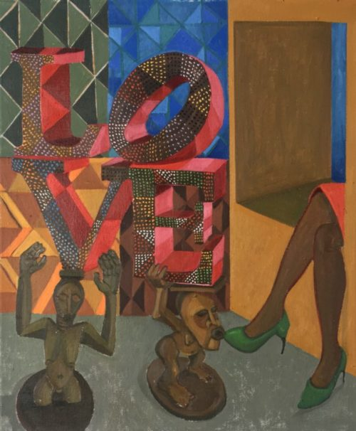 Richard Mudariki / African love / Huile sur toile - Oil on canvas / 55 x 46,5 cm / 2020
