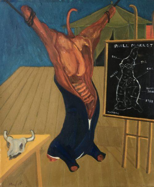Richard Mudariki / The bull market - Le marché haussier / Huile sur toile - Oil on canvas / 55 x 46,5 cm / 2020