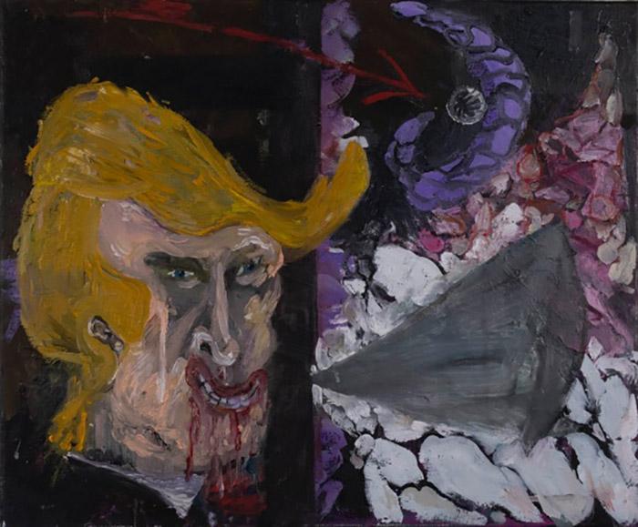 Bart Baele / Purple moon / Huile sur toile - Oil on canvas / 50 x 60 cm / 2019
