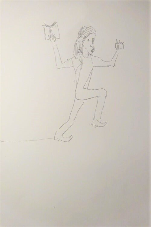 Bart Baele / Running Jesus / Crayon sur papier - Pencil on paper / 35,5 x 26,5 cm / 2019