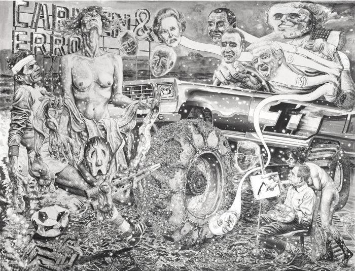 Marcos Carrasquer / Overkill / Lavis et encre sur papier - Wash and ink on paper / 120 x 160 cm / 2019