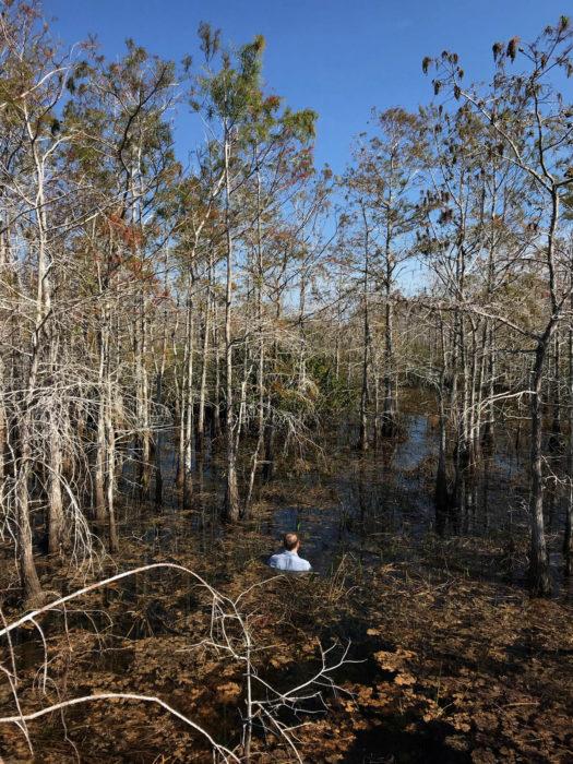 Simon Faithfull / Self-Portrait: Big Cypress, Everglades / Framed digital photograph / 55 x 44 cm / 2019 / Ed. of 3