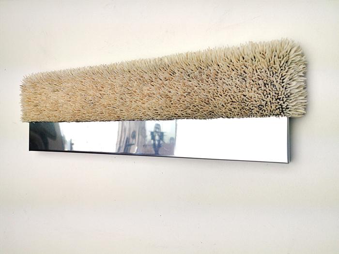 Harald Fernagu / Living landscape #4 / Coquillages sur zinc, miroir poli / Sea shells on zinc, polished mirror / 19 x 60 x 6 cm / 2020