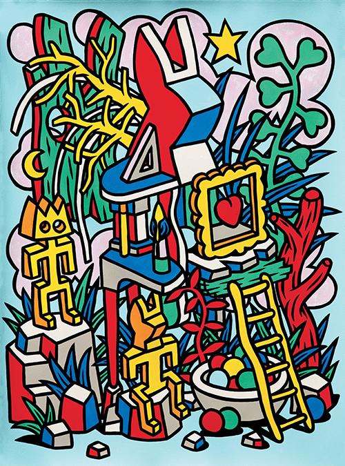 Speedy Graphito / Le Temple / Acrylique sur papier - Acrylic on paper / 77 x 57 cm / 2020