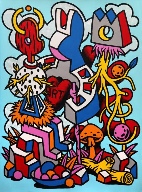 Speedy Graphito / Education artistique / Acrylique sur papier - Acrylic on paper / 77 x 57 cm / 2020