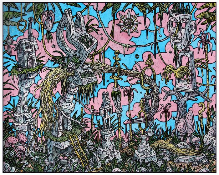 Speedy Graphito / Le Pays d'où l'on s'évade / Acrylique sur papier - Acrylic on paper / 80 x 100 cm / 2020