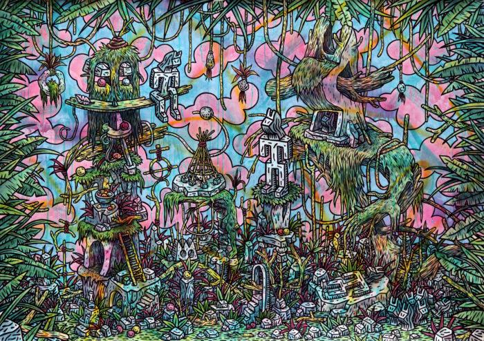 Speedy Graphito / Forêt sacrée / Acrylique et posca sur papier marouflé sur toile - Acrylic on paper mounted on canvas / 114 x 160 cm / 2020